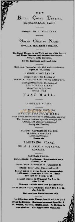 A Bill advertising the Grand Opening Night of the Royal Court Theatre, Bacup on the 18th of September 1893 - Courtesy Simon Parker, Bacup Amateur Operatic and Dramatic Society.