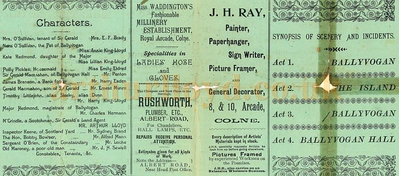 A Programme for Arthur Lloyd's 'Ballyvogan' being performed at the Theatre Royal, Colne in November 1896 - Courtesy Robert James Mann