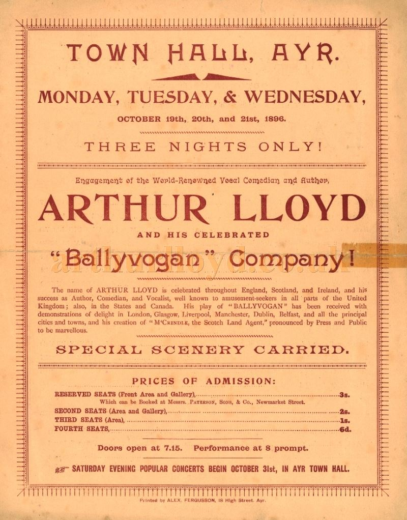 A Programme Cover for Arthur Lloyd's 'Ballyvogan' Company playing the Town Hall, Ayr in October 1896 - Courtesy Robert James Mann
