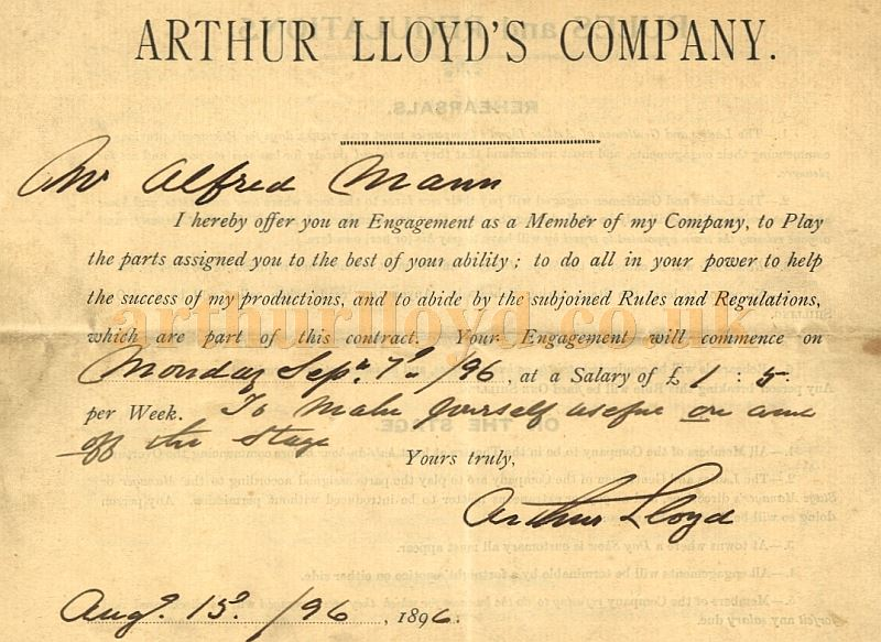 A Contract for Alfred Mann's engagement in Arthur Lloyd's 'Ballyvogan' Company of 1896 - Courtesy Robert James Mann. Also see Programme above.