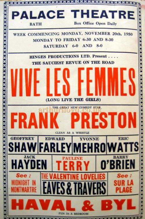 A Poster for 'Vive Les Femmes' at the Palace Theatre, Bath in 1950 - Courtesy David Garratt.
