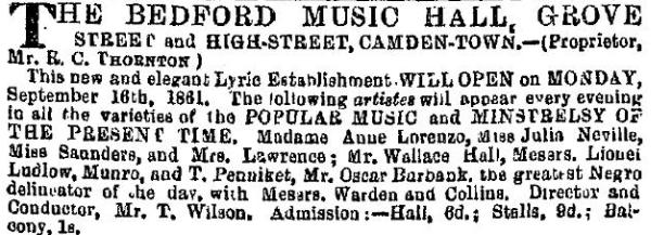 A cutting from the ERA of the 8th of September 1861 on the imminent opening of the Bedford Music Hall