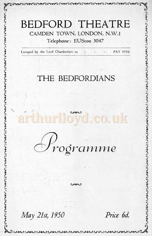 A Programme for the 1950 ' Bedfordians' production of 'Marriage Settlement' by Ronald Adam - Courtesy Michael Jaffé whose Grandfather Carl Jaffé was in the cast.