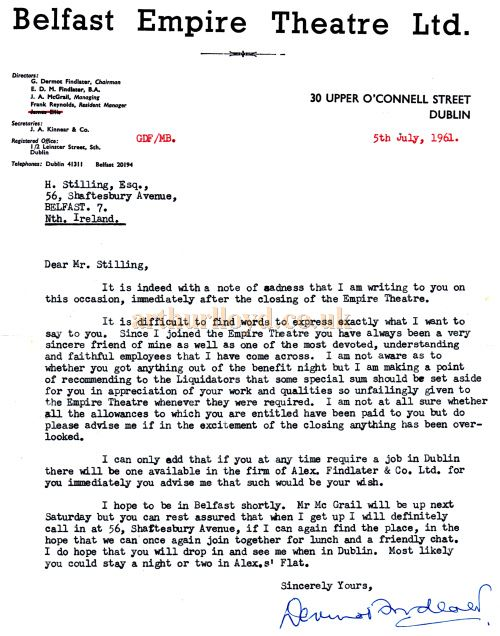A letter written to the Empire's electrician Herbert Stilling after the closure of the Theatre in July 1961 - Courtesy Bill Stilling.
