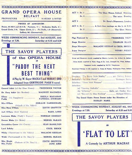 Programme details for 'Paddy The Next Best Thing' at the Grand Opera House, Belfast in August 1943.