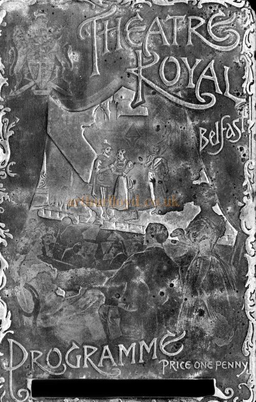 A reversed image of Printing Plate which would have been used to print programmes for the Theatre Royal, Belfast - Courtesy Derek King.
