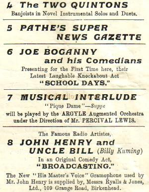 Argyle Theatre Variety Programme for April 30th 1928