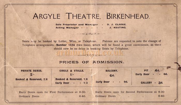 The back cover of the 41st Anniversary Souvenir Programme for the Argyle Theatre, Birkenhead