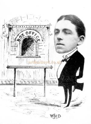 A sketch of J. Keating, acting manager, beside the Box Office of the Argyle Theatre, Birkenhead.
