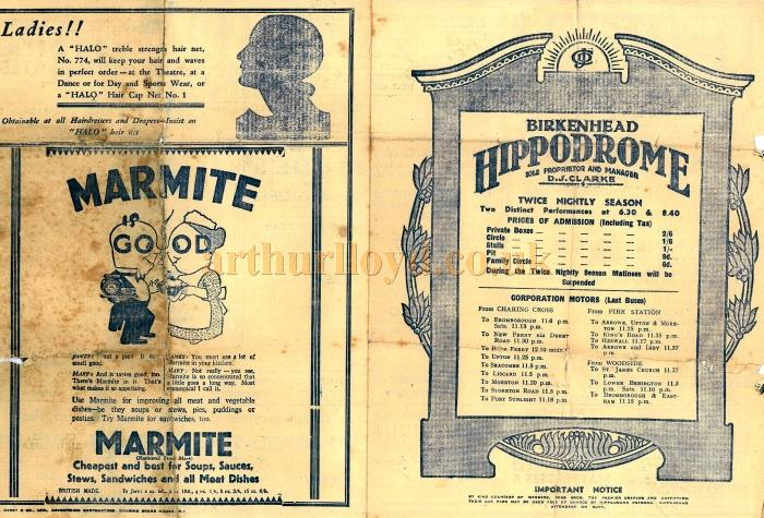 A programme for 'Evening Follies' at the Birkenhead Hippodrome for the week of the 5th of March 1934 - Courtesy Robin Lucas. This was the last show at the Hippodrome before it was demolished.