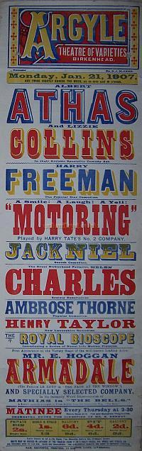 Poster for the Argyle Theatre of Varieties for Monday January the 21st 1907.