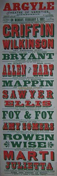 Poster for the Argyle Theatre of Varieties for Monday the 1st of February 1892.