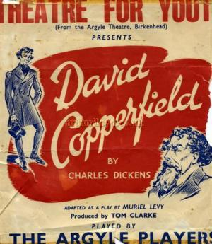 Poster for the Theatre For Youth production of 'David Copperfield' in 1957 - Courtesy Geoff Unwin, who appeared as David Copperfield, playing opposite Judy Vague who doubled as Emily and Mrs McCawber.