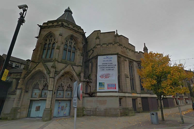 A Google StreetView Image of the former Exchange Hall, Blackburn - Click to Interact