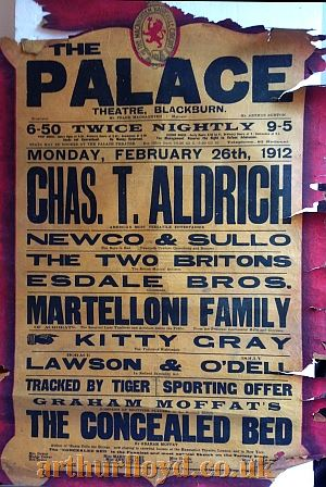 Two Variety Bills for the Palace Theatre, Blackburn for Monday February 26th and Monday March 18th 1912 - Courtesy D Stevens, Horseheads, NY.