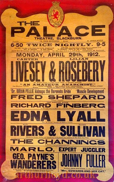 A Variety Bill for the Palace Theatre, Blackburn for Monday April 29th 1912 - Courtesy D Stevens, Horseheads, NY.