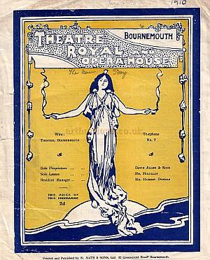 Programme for 'The New Boy' at the Theatre Royal, Bournemouth in 1910.