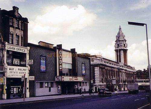 Real Photograph of the ABC Cinema, Brixton, formerly the Palladium Picture Playhouse, in the 1970s with a radically modernised Facade. The Cinema is advertising the film 'Dirty Harry.'