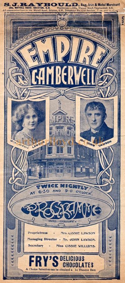 A Variety Programme for the Empire Theatre, Camberwell on Monday September the 23rd, 1912.