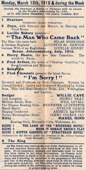 A Programme for 'The Man Who Came Back' and 'I'm Sorry!' at the Camberwell Empire in March 1916 - Courtesy Keith Hopkins.