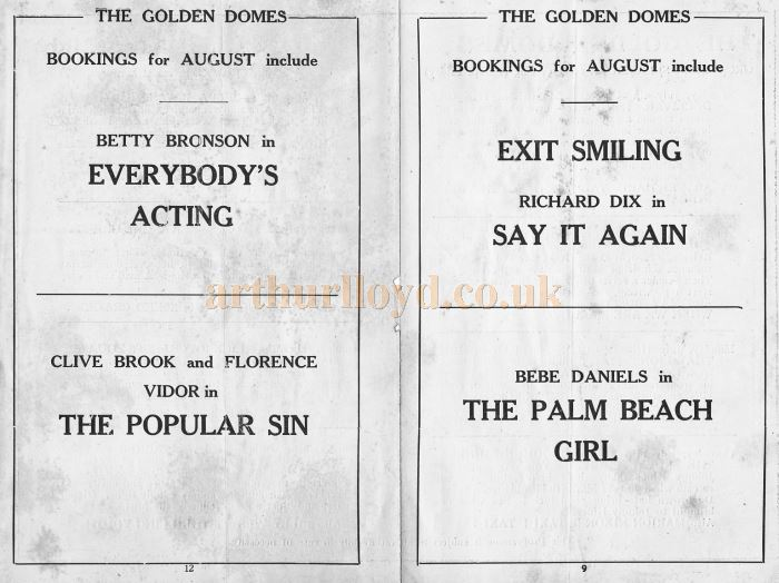 A page advertising coming attractions from a programme for the Golden Domes, Camberwell in June 1927 - Courtesy John Ricks.