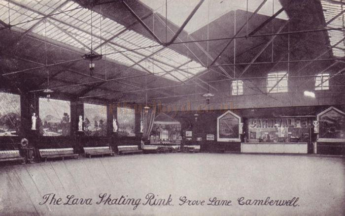 A postcard showing the the Lava Skating Rink, Grove Lane, Camberwell - Courtesy Jack Mcinroy