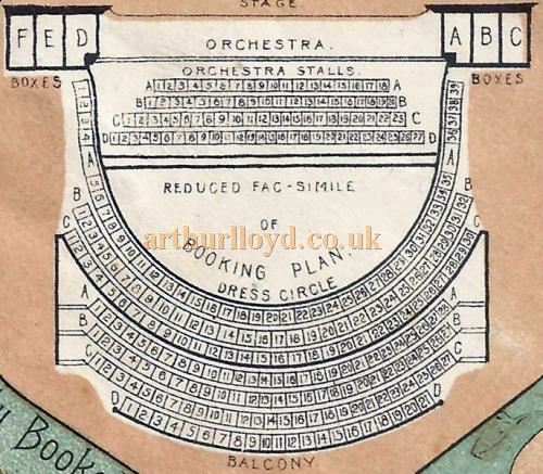 A Seating Plan for the Metropole Theatre, Camberwell in 1898 - From a Programme for 'Our Flat' at the Theatre in March 1898 - Courtesy David Garratt. Click to see the entire programme.