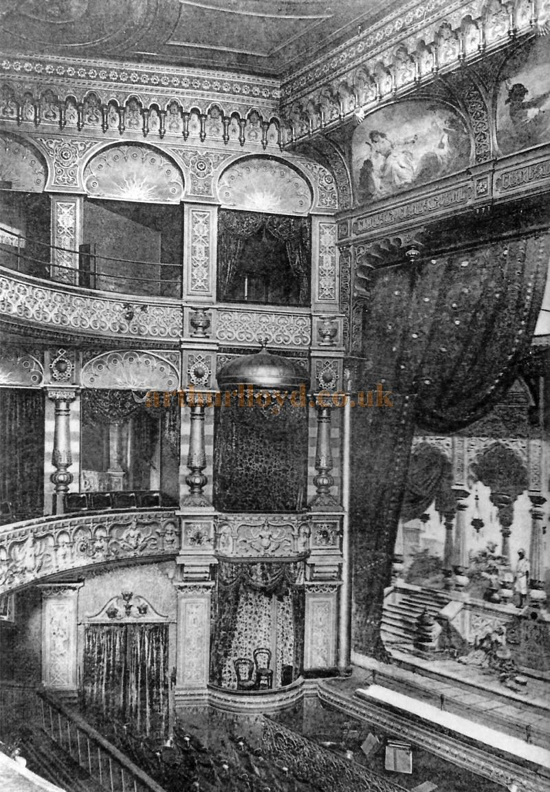 A Photograph of the Auditorium of the Metropole Theatre, Camberwell probably taken shortly after it opened in 1894 - Courtesy David Garratt.