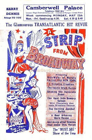 A poster for 'A Strip From Broadway' at the Camberwell Palace in the 1950s.
