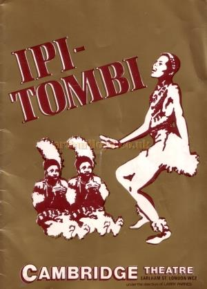 The Programme for 'Ipi Tombi' at the Cambridge Theatre in 1977 which this article comes from - Kindly Donated by Linda Chadwick.