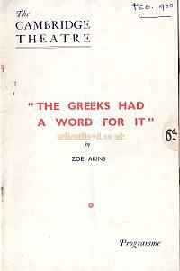 Programme for 'The Greeks Had A Word For It' at the Cambridge Theatre in 1935.