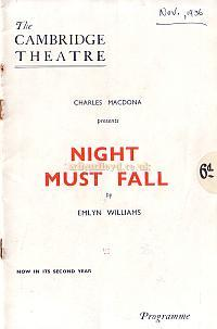 Programme for 'Night Must Fall' at the Cambridge Theatre in 1936.