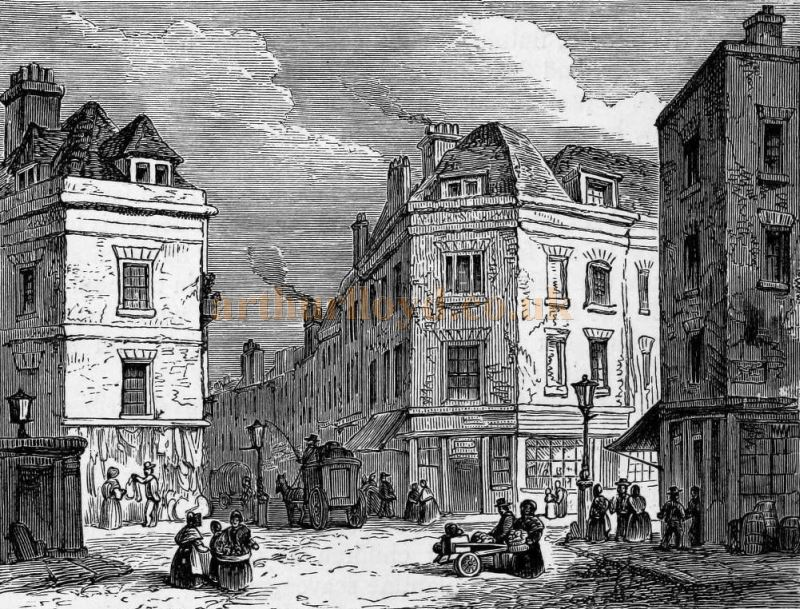 Seven Dials from an original sketch by F. W. Fairholt, from 'Haunted London' 1880.