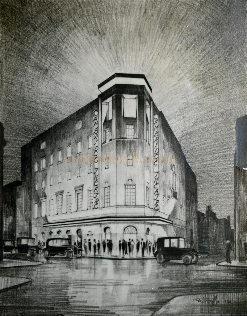 A sketch of the Cambridge Theatre Signed by the artist and drawn for the architects Wimperis Simpson & Guthrie of South Molton St in 1930 - Courtesy James Caslaw