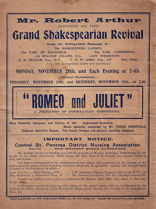 a programme for  u0026 39 romeo and juliet u0026 39  at the camden theatre