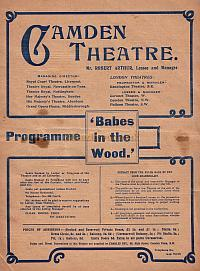 Programme for 'Babes in the Wood' at the Camden Theatre 1905.