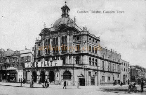 A postcard showing the Camden Theatre during the run of 'Our Flat'.