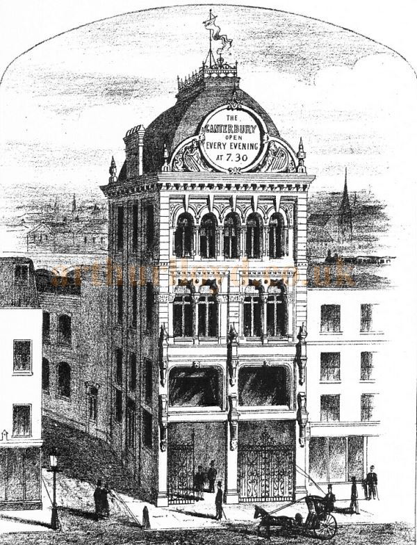 An early engraving showing the exterior of the Canterbury Music Hall, later the Canterbury Theatre.