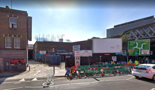 A Google StreetView Image of the site of the former Canterbury Theatre, between Carlisle Street and Upper Marsh, and fronting the Westminster Bridge Road - Click to Interact.
