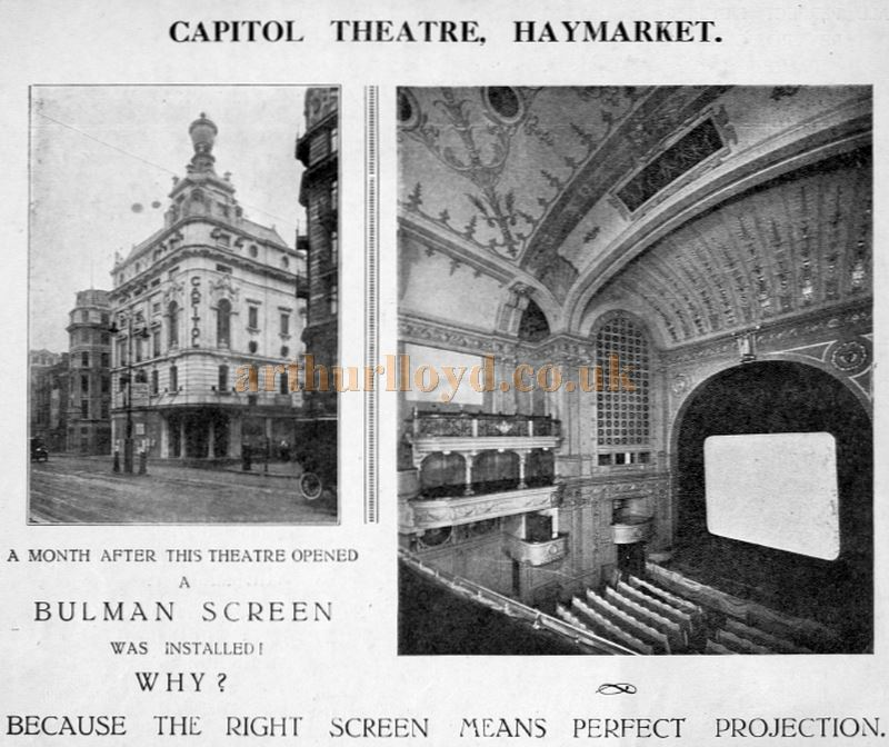An Advertisement for 'Bulman's Screens' as fitted in the Capitol Theatre, Haymarket - From a 'Bulman Cinema Screen Co.' Brochure.