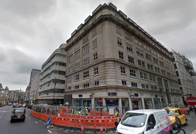 A Google StreetView Image of the former Odeon, Haymarket and Office Building above, which was a reconstruction of the former Gaumont Theatre and built on the site of the even earlier Capitol Theatre, Haymarket in 1959 - Click to Interact