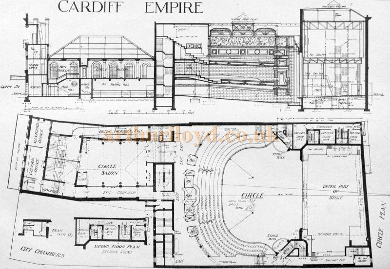 Plans of the 1915 Cardiff Empire - From The Building News and Engineering Journal of August 2nd 1916.