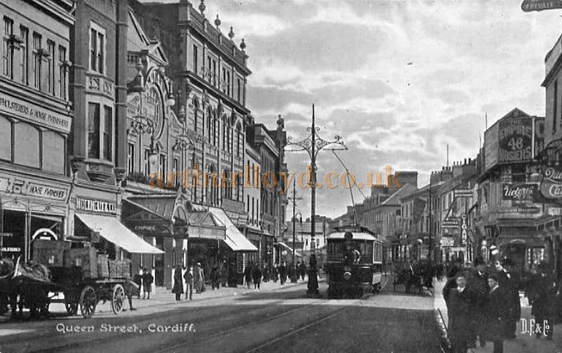 An early postcard view of the Empire Theatre and Queen Street, Cardiff