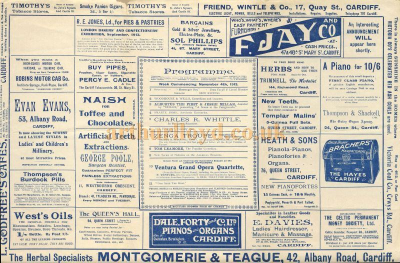 A Variety Programme for the Cardiff Empire for the 4th of November 1912 - Courtesy Tim Trounce.