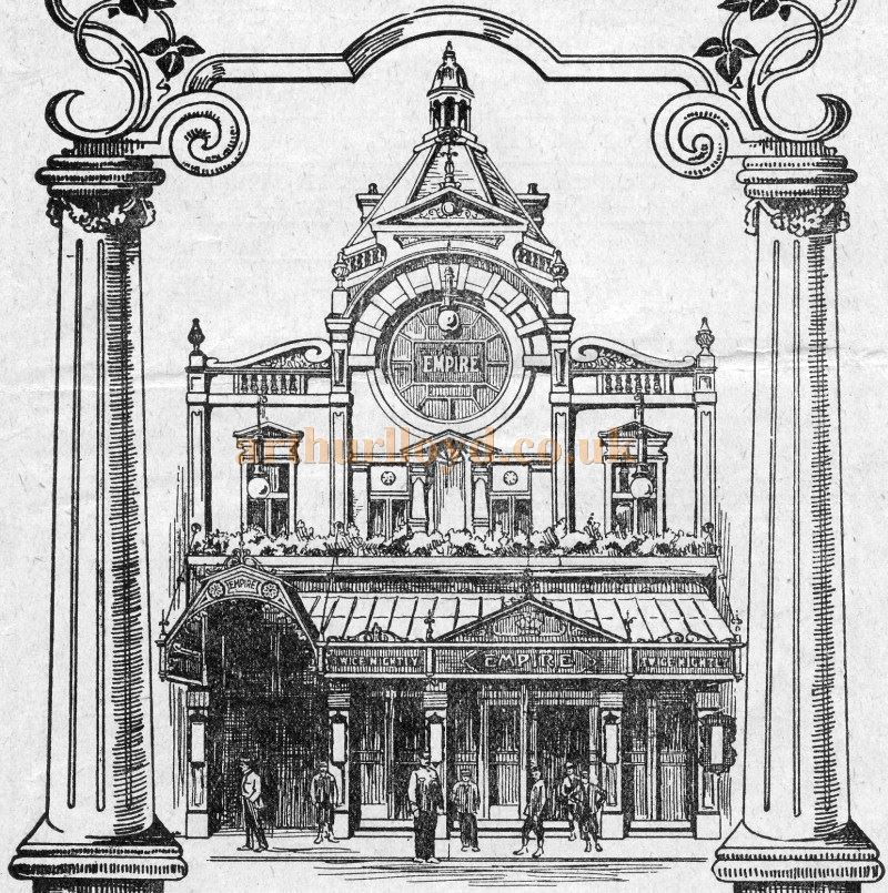 A Sketch of the Empire Theatre - From A Variety Programme for the 4th of November 1912 - Courtesy Tim Trounce.