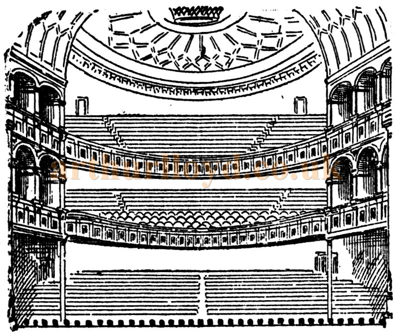 The Auditorium of the Grand Theatre of Varieties, Cardiff when it first opened in 1887 - From the Western Mail, 30th July 1887.