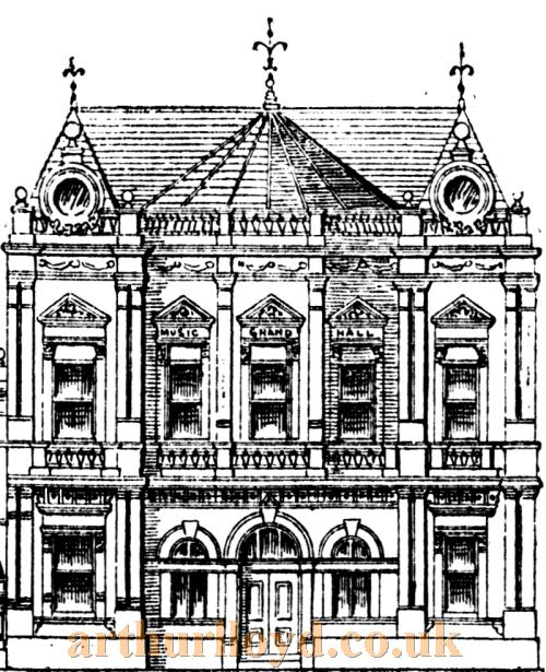 A sketch showing the proposed exterior of the Grand Theatre of Varieties, Cardiff - From The Western Mail 19th January 1887.
