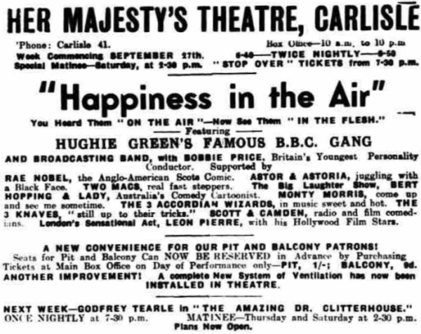 An advertisement for Her Majesty's Theatre, Carlilse - From the Penrith Observer, 28th September 1937.