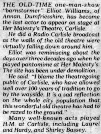 An article from the Stage Newspaper of the 3rd of March 1980 on the demolition of Her Majesty's Theatre, Carlisle.