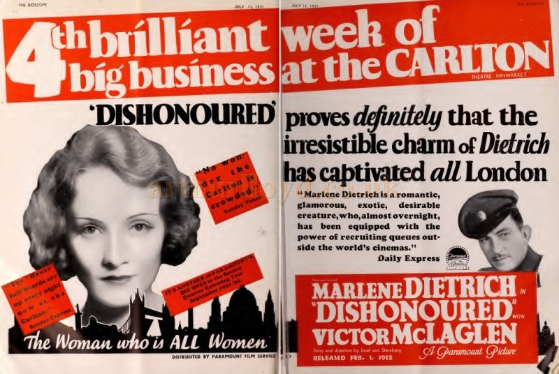 An Advertisement for the 4th week of the screening of Marlene Dietrich in 'Dishonoured' at the Carlton Theatre in 1931 - From 'The Bioscope' July 1931.